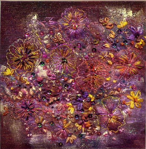 Floral Fantasy By Stef Francis A free embroidery on layers of fabric with trapunto, beads and sequins added