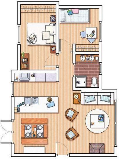 166 melhores imagens sobre plantas de casas pequenas no for Distribucion de apartamentos de 40 metros