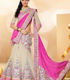 Buy pink embroidery net unstitched lehenga-choli Online