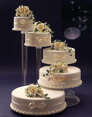 "5 TIER CASCADE WEDDING CAKE STAND STANDS SET 6""/8""/10""/12""/12"""