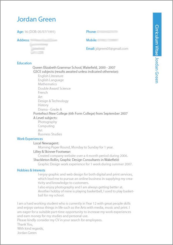 layout of a good resume