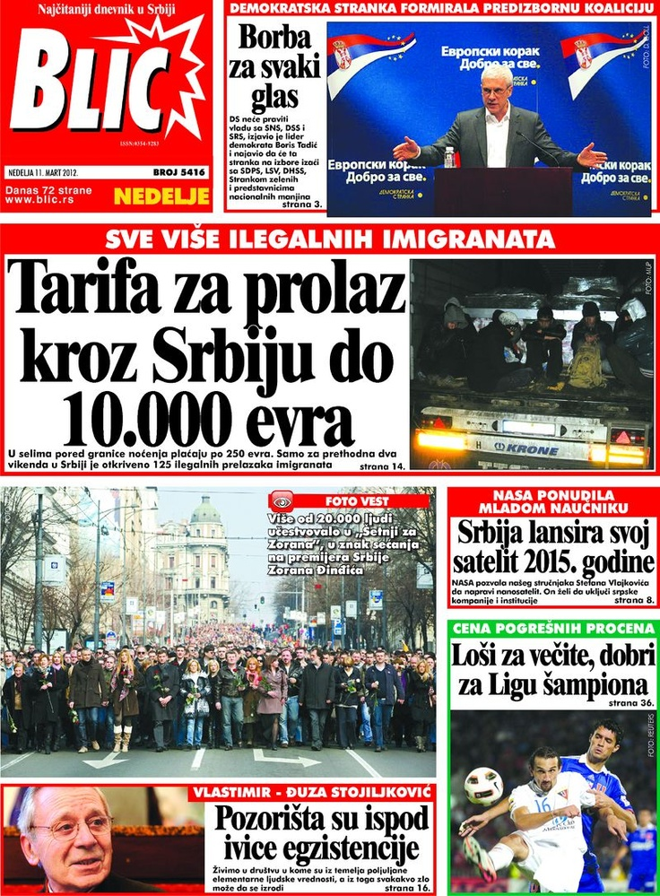 "Naslovna strana ""Blica"" za 11. mart 2012. Playbill"