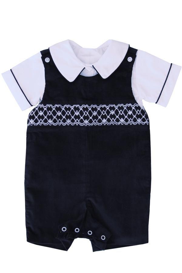 570e5412a Special Occasion Navy Baby Boys Smocked Jon Jon Shortall | Baby ...