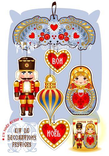"""UN NOEL RUSSE. """"En Russie, c'est Ded Moroz (grand-père gel) qui apporte les cadeaux accompagné de Snegourochtka (petite neige) car ce que l'on fête  en fin d'année, c'est l'hiver et son blanc manteau."""""""