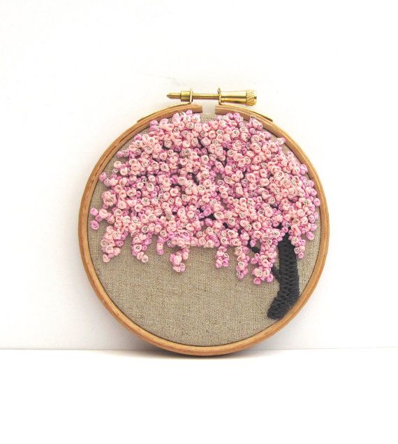 Hand Embroidery Hoop Art . 4 x 4 Inch. Pretty In by mirrymirry, $41.00