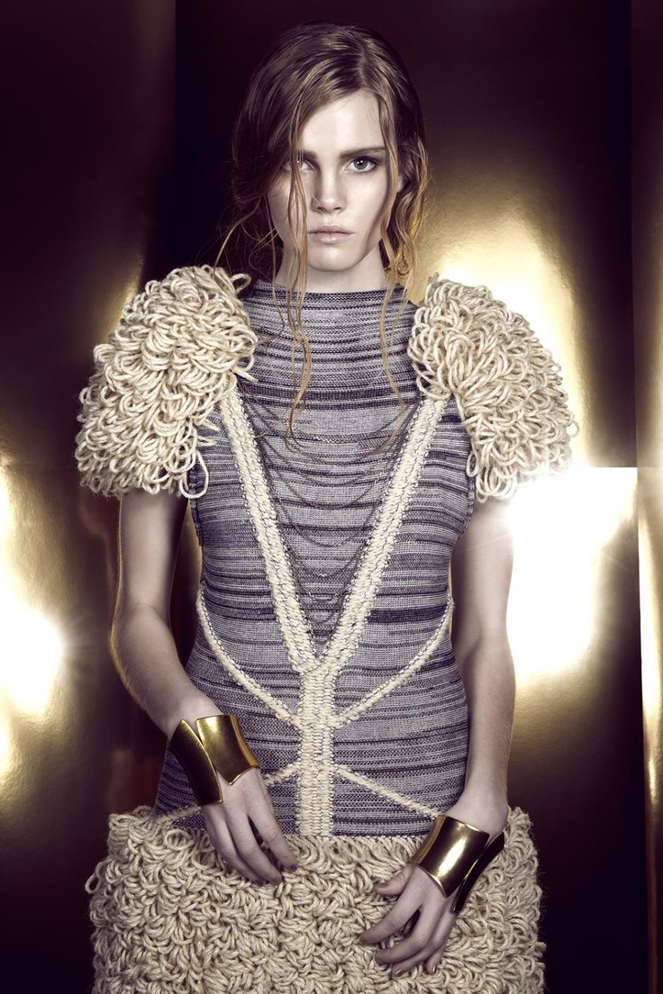 Artistic Knitwear Design - knitted dress with textured shoulders & skirt; sculptural fashion // Stine Ladefoged