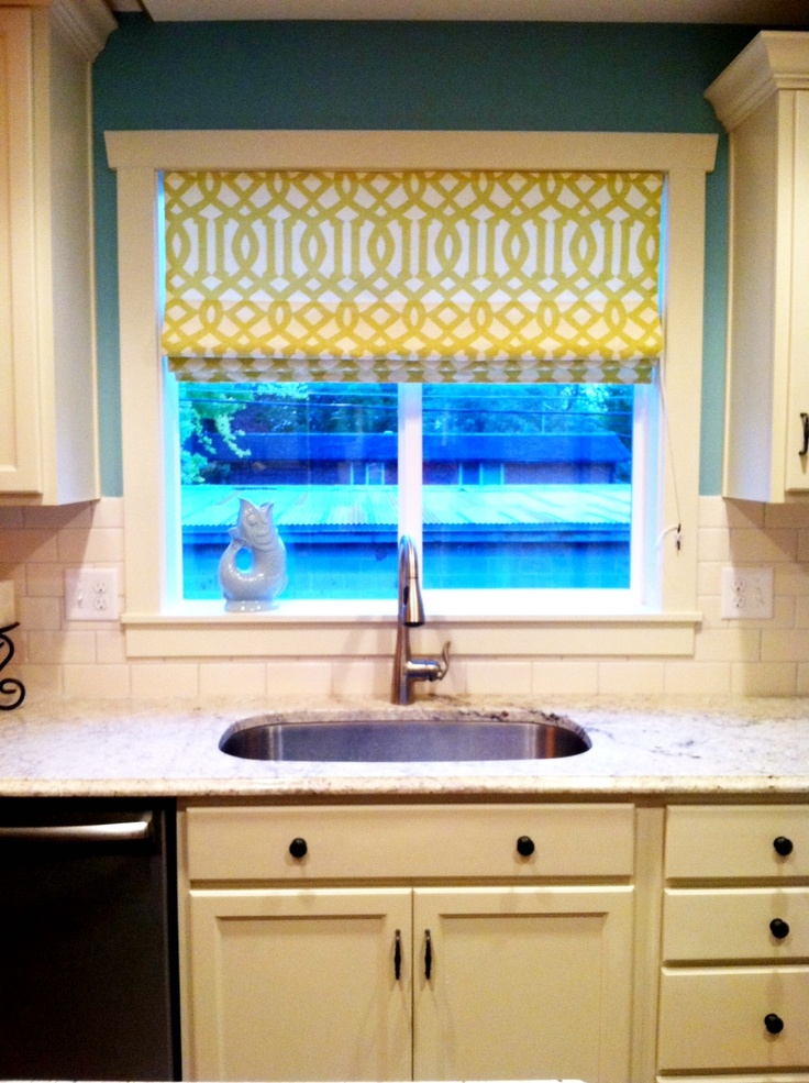 48 best ideas about roman shades on pinterest roman for Fabric shades for kitchen windows