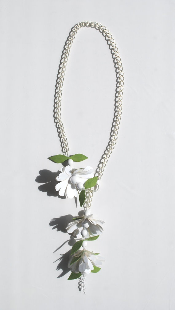 100 cm long matt silver-colour metal chain.  Pendant endings with fabric leaves and flowers, balls, resin petals and see-through crystals.    This object has been made with optimum quality entirely handmade materials and accessories. Each small imperfection makes the item unique. #jewels
