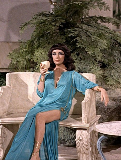 Elizabeth Taylor on the set of Cleopatra, 1963