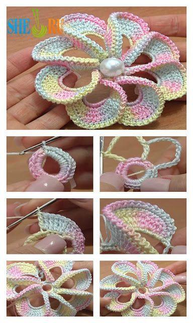 3D Spiral 8-Petal Crochet Flower Trim Around Video Tutorial - Crochet Things