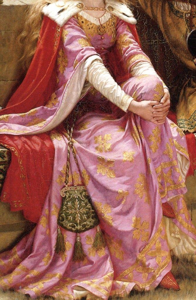 Detalle del vestido de Isolda. Tristan and Isolde by Edmund Blair Leighton, 1902