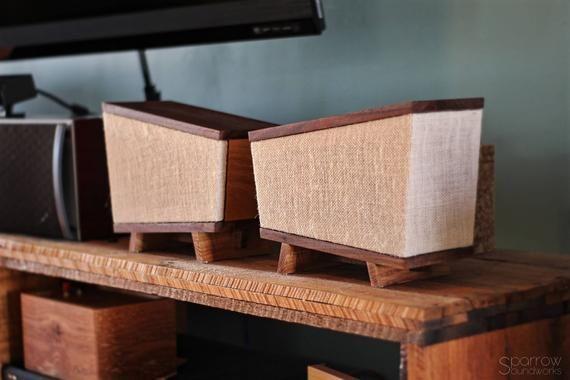 Handmade Black Walnut Hickory Wood Bookshelf Speakers Pair Etsy Wood Bookshelves Hickory Wood Bookshelf Speakers