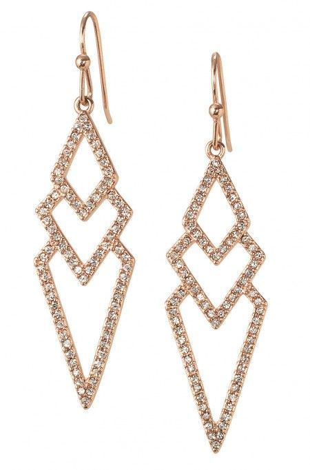 These rose gold earrings for women take studs to the next level with their spear shape. The Rose Gold Pave Spear Earrings from Stella & Dot are stunning and only $49!