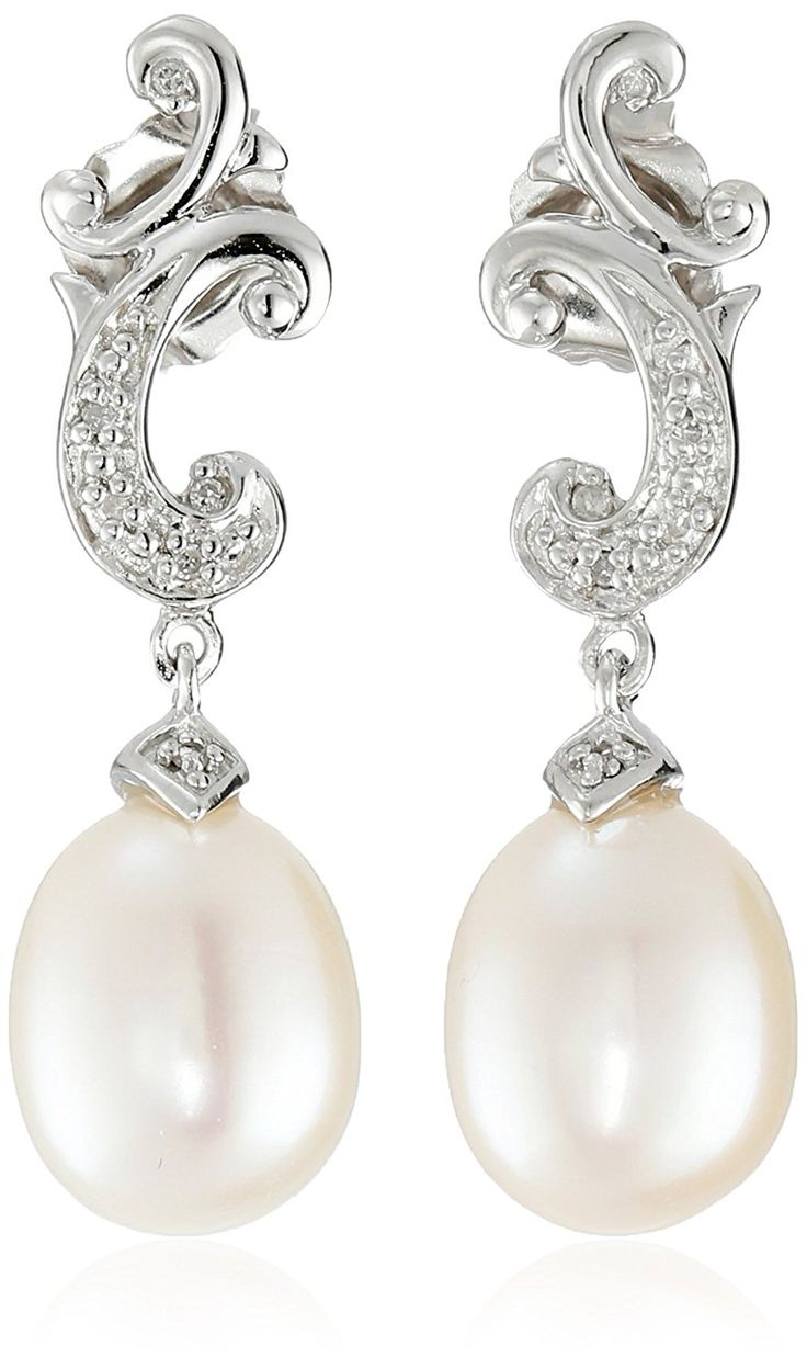Sterling Silver Freshwater Cultured Pearl and Diamond Drop Earrings >>> For more information, visit image link. (This is an Amazon Affiliate link)