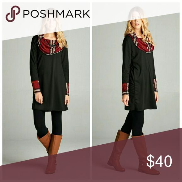 Plaid French Terry Tunic Dress COMING SOON   Solid french terry tunic dress accented with plaid contrast cowl neck and sleeve cuff. Dresses Long Sleeve