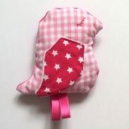 Knuffel Musje - roze ruit - www.suzzig.nl