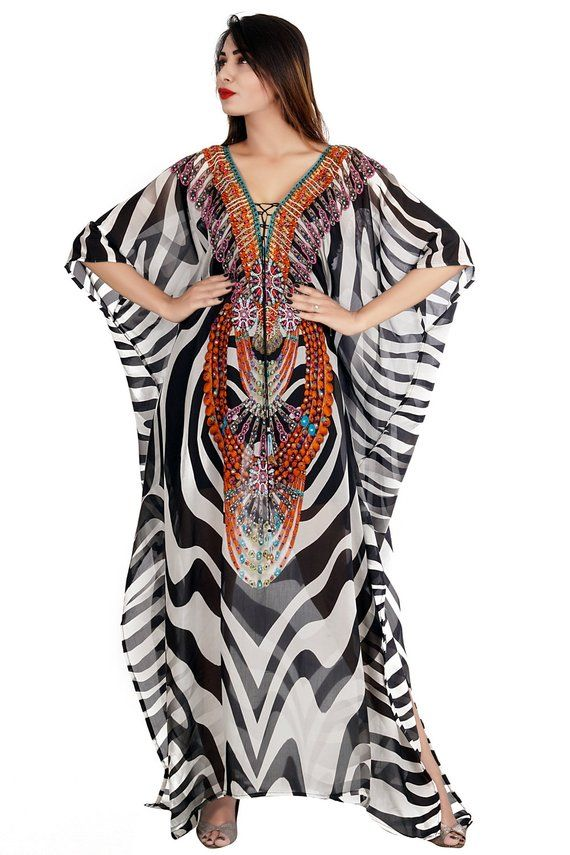 9d4faa0926 Lace Up/Long/Beach kaftan dress for woman beaded/beach wear/one piece  jeweled full length kaftan/lu