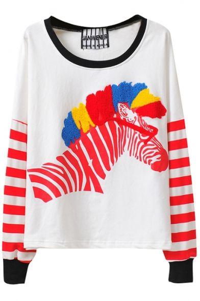 Zebra Colorful Embroidered Stripe Print  EUR 17.00