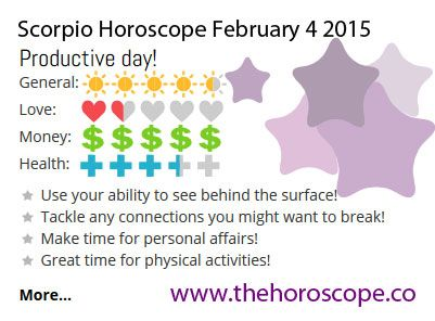 Productive day for #Scorpio on Feb 4th #horoscope ... http://www.thehoroscope.co/horoscope/Scorpio-Horoscope-today-February-4-2015-2120.html