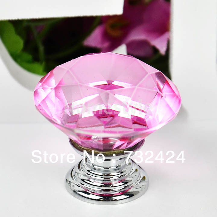 Hot Sale 5Pcs/Lot Wholesale 30mm Diamond Crystal Shape Glass Door Cupboard  Wardrobe Drawer Cabinet Knobs Pull Handle Pink TK0978 $7.00 | Pinterest ...