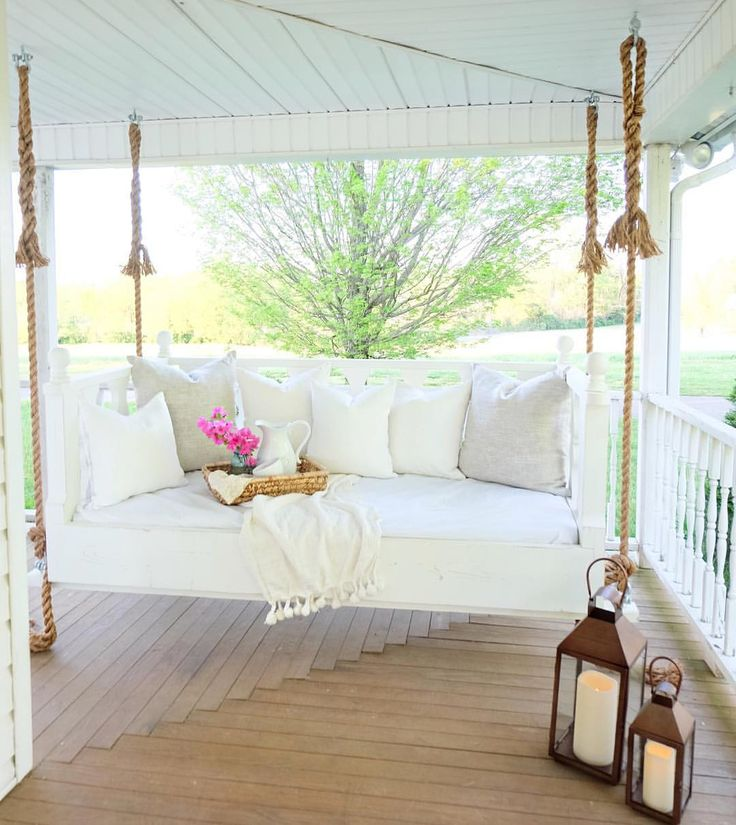 25 best ideas about hanging porch bed on pinterest for Farmhouse porch swing