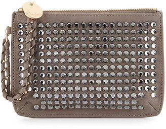 Neiman Marcus Crystal-Embellished Faux-Suede Wristlet, Gray/Smoke #1010ParkPlace