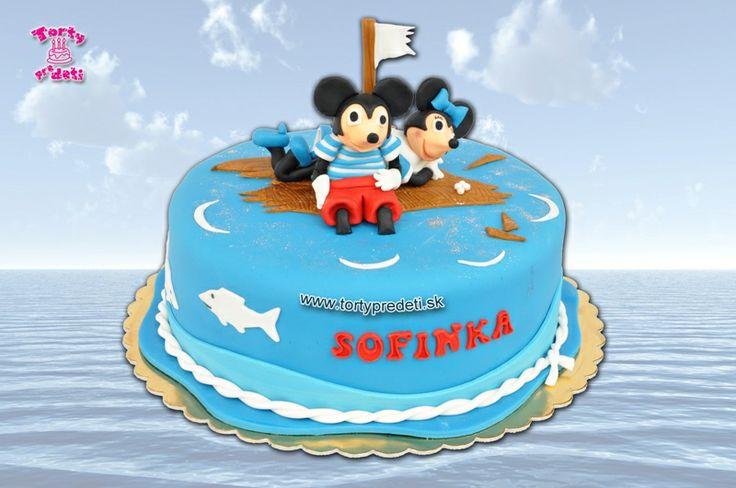 Torta stroskotanci, Myška Minnie a Mickey Mouse | Torty pre deti Žilina - detské, marcipánové, 3D, a iné torty na objednávku