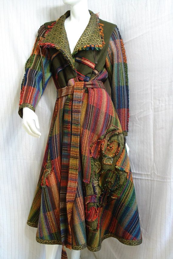 Altered couture wearable art wool coat upcycled vintae by natatusy, $149.00