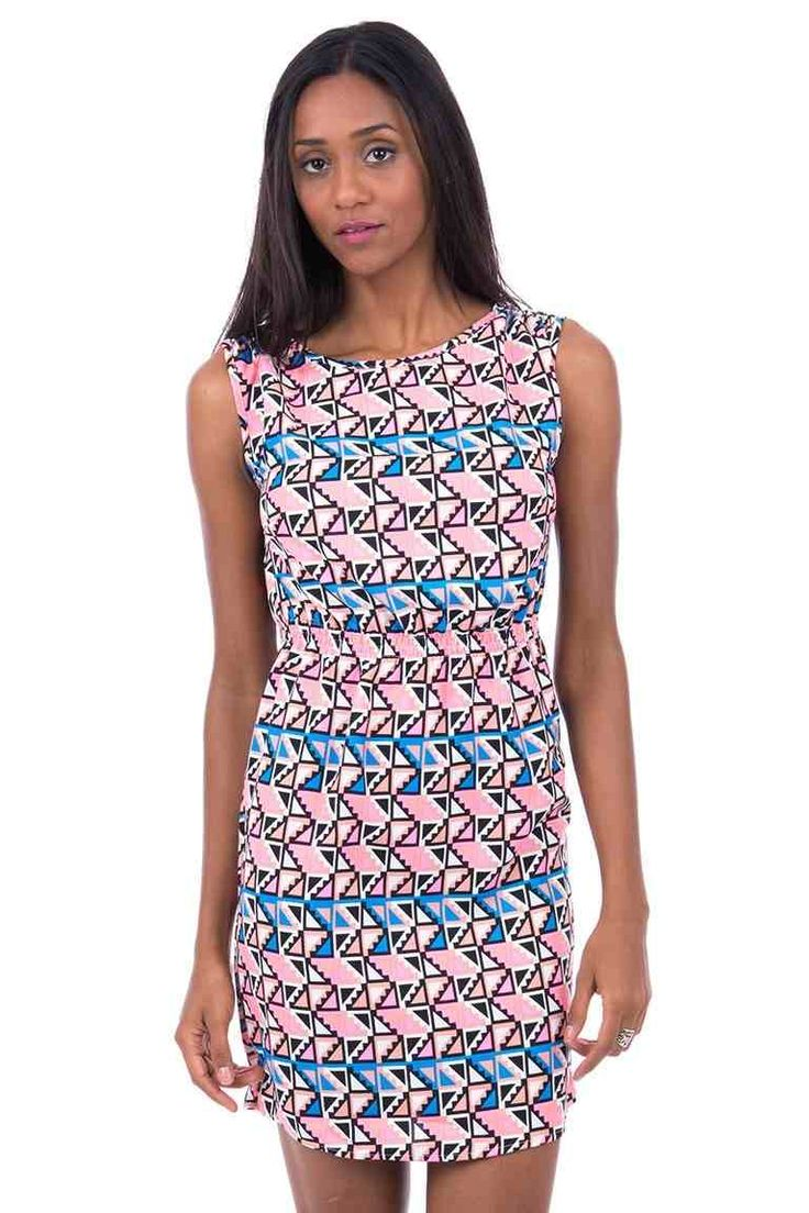 Patterned Stylish Dress.   This gorgeous little dress is ideal for that girls night out or for your summer holiday.   It is lightweight so ideal for packing. There is an elasticated waist and elasticated shoulders   The neck is round and it is sleeveless.  £22.99