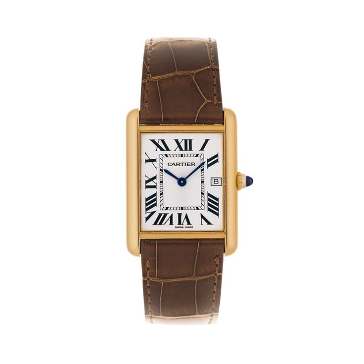 """$9,300. Tank Louis Cartier watch. """"Worn by Louis Cartier himself, the """"Tank Louis Cartier"""" watch sets the standard for all Tank watches. To embody Louis Cartier's contribution to """"modern style"""", later known as Art Deco, the tops of the lugs were rounded in contrast to the previously fashionable rectangular form and proud lines."""""""