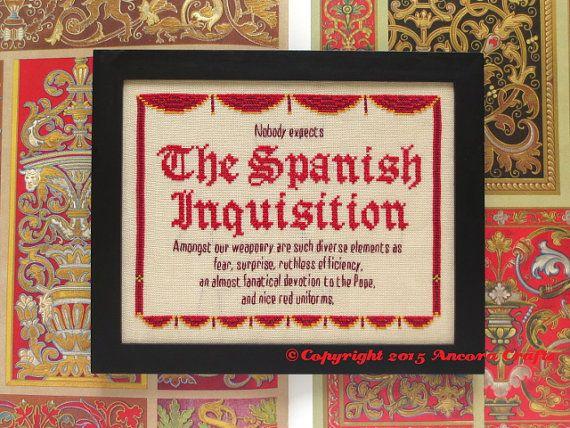 best spanish inquisition ideas monty python  monty python cross stitch spanish inquisition by ancoracrafts