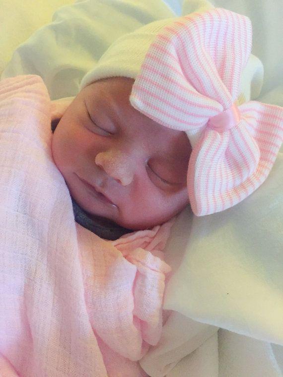 6ceaf904911 NEWBORN GIRL take home hat  Newborn Beanie   White and Pink Beanie ...
