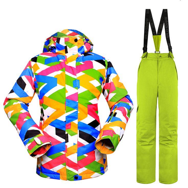 New Skiing Sets Women Ski Suits Jackets + Pants Snowboard Clothing Waterproof Snowboard Ski Jackets Breathable Wind Warm #Affiliate