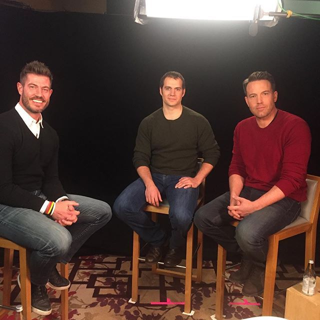 Two super heroes and a hump.  Talking @batmanvsuperman with @henrycavill and @benaffleck.  Interview will be on @GMA this week!!! #WeAllGotTheSweaterMemo