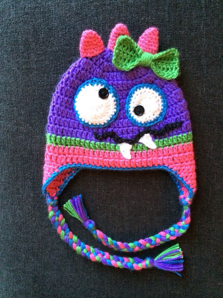Crochet Monster Hat, Baby Girl Monster Hat with Bow, Purple, Pink, Green and Blue, Photo Prop, Silly Monster by SweetTandHoneyBees on Etsy
