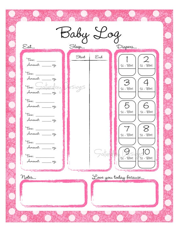 Printable Daily Logs for Baby  Put this print in an 8x10 frame, hang in the nursery, and use a dry erase marker to record your baby's daily activity. This is great for busy (and sleepy!) parents and makes a wonderful and unique baby shower gift. This is also a wonderful tool for baby-sitters to use - return home and see when the last time your baby was fed, slept, etc. Functional and cute :-)  Or print a whole bunch of copies for when you are traveling or taking your baby to someone else's…