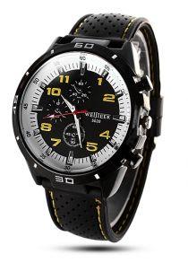 Weijieer 5020 Faixa de borracha de relógio de quartzo analógico redondo Dial para homens