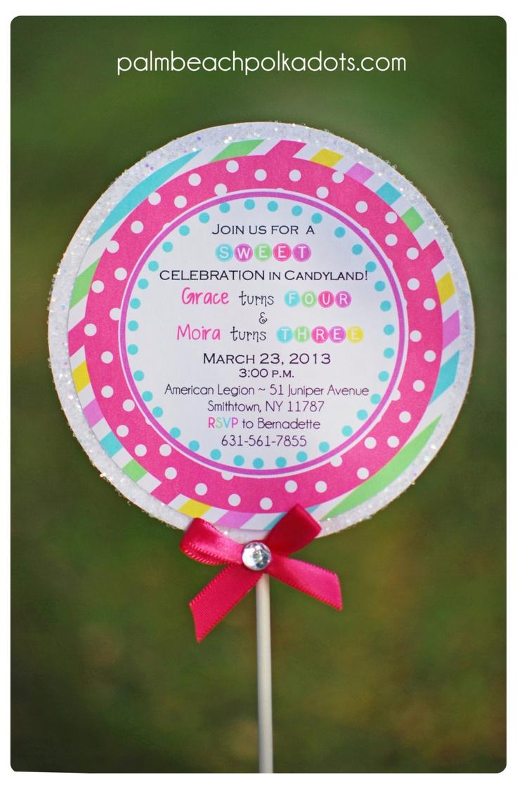 10 DELUXE GLITTER Candyland Lollipop Birthday Invitations by Palm Beach Polkadots. $35.00, via Etsy.