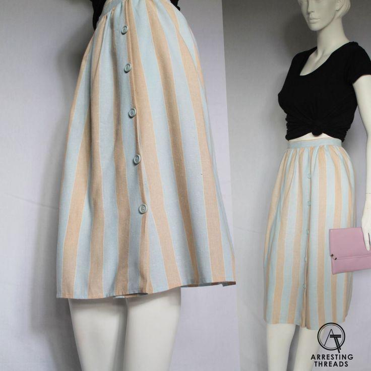 1980s Skirt, Vintage 80s Skirt, Ice Cream, Striped Skirt, Stripes, Pastel Skirt, Blue, Beige, Button Up, Preppy Skirt, Knee Length, Size S, by ArrestingThreads on Etsy