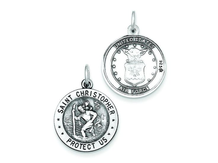 Sterling Silver St.christopher Us Air Force Medal Pendant Necklace - Chain Included
