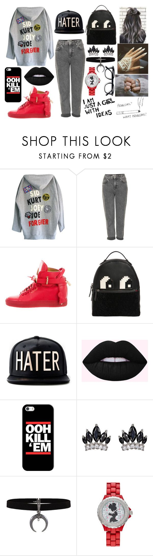 """Problems? What Problems?"" by elizabetta-i ❤ liked on Polyvore featuring High Heels Suicide, Topshop, BUSCEMI, Les Petits Joueurs, Casetify, Fallon and Disney"