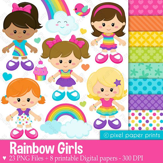 Rainbow girls - Clipart and Digital Paper Set