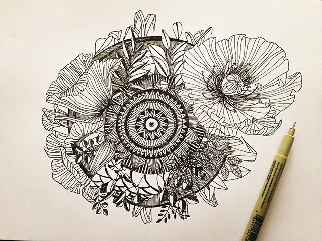 #doodleart #contemporary #surface #detail #lineart #quirkyouup #thisiswhatido #thisishowidoit #design #surface #blackandwhite #bnw #detail #penwork #pendetail #micron #linework #abstract #floral