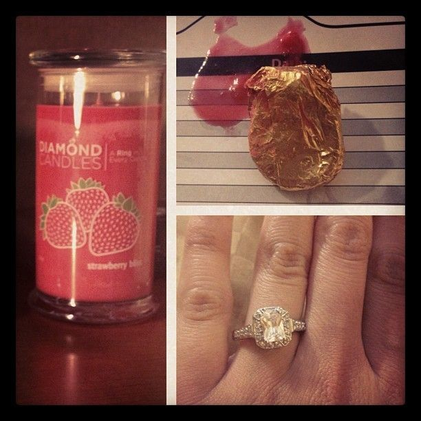 diamond candles -- how cool is this? Each candle has a ring inside worth $10, $100, $1,000 or $5,000!