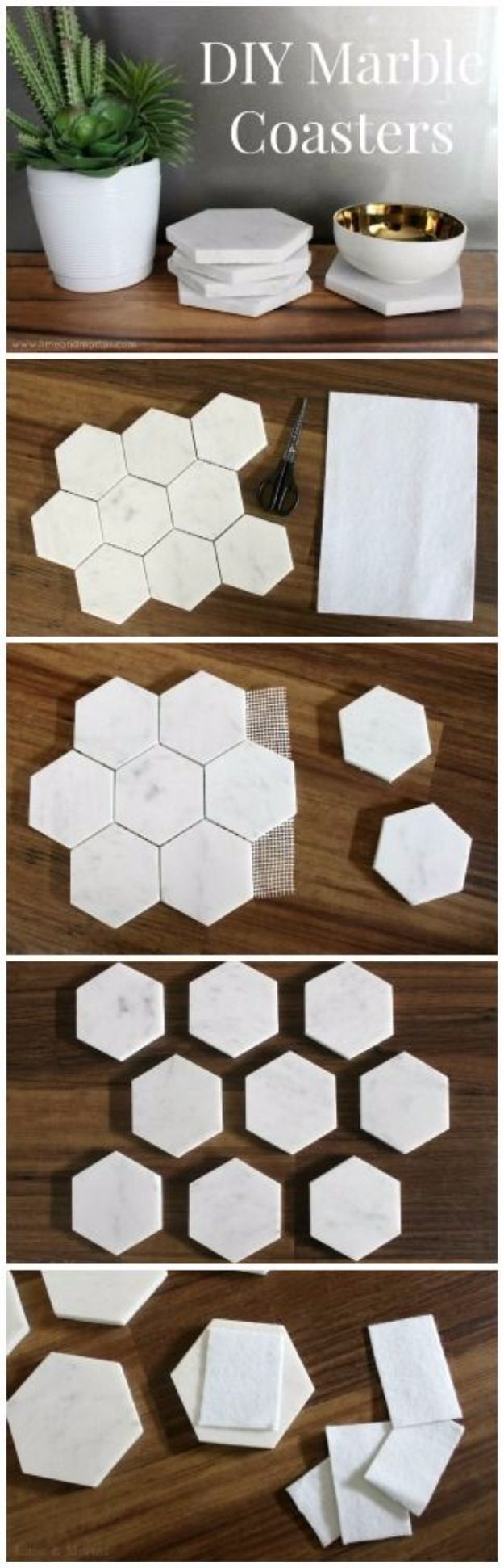 DIY Coasters - DIY Marble Coasters - Best Quick DIY Gifts and Home Decor - Easy Step by Step Tutorials for DIY Coaster Projects - Mod Podge, Tile, Painted, Photo and Sewing Projects - Cool Christmas Presents for Him and Her - DIY Projects and Crafts by DIY Joy http://diyjoy.com/diy-coasters