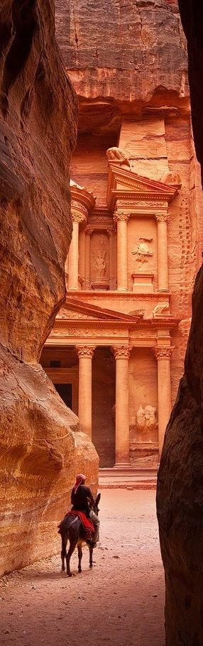 Petra, Jordan The first view of the ancient town, approaching it from the canyon, is breathtaking.