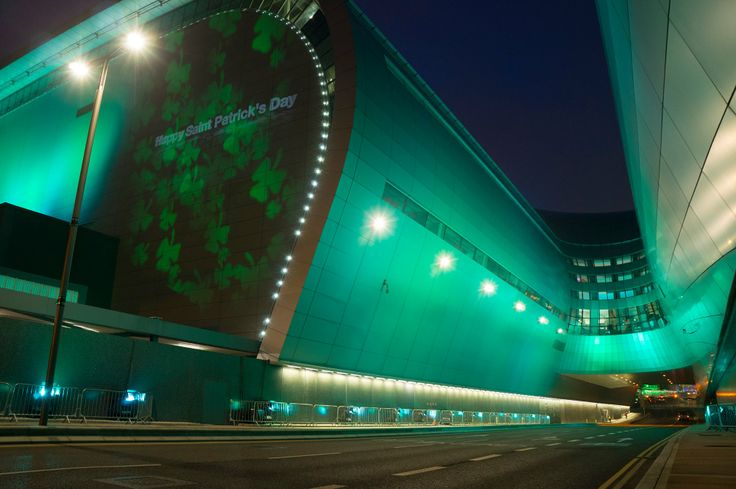 Terminal 2 has gone green for Saint Patrick's Day #GlobalGreening