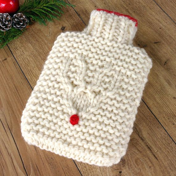 Reindeer Hot Water Bottle, Chunky Hot Water Bottle, 100% Wool Luxury Hot Water Bottle, Heat Pack, Christmas Gift for Wife, Christmas Bedroom - Etsy - Chi Chi Moi