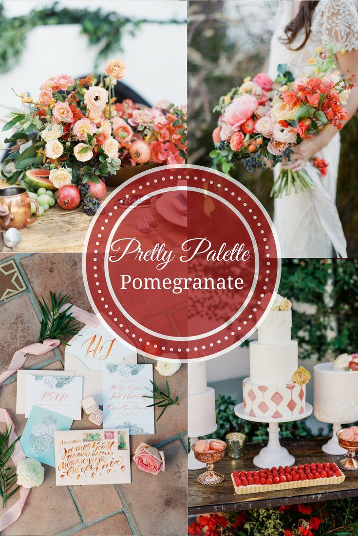 Boho Pomegranate Wedding Theme. Lush fruit & Floral Wedding Palette Decor and Cake.  Romantic Gold & Blush Wedding Ideas and inspiration. #goldwedding #bohowedding