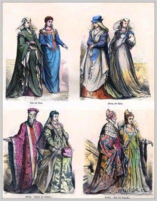 Italiaanse Renaissance mode.  16e eeuwse kostuums.  Middeleeuwse kleding.  Middeleeuwen jurken.  Münchener Bilderbogen